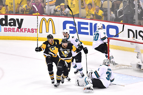 Bryan Rust celebrates after scoring the opening goal of the Stanley Cup Final for the Penguins/Photo: Jamie Sabau/Getty Images