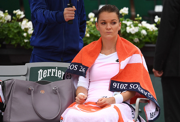 Agnieszka Radwanska reacts her fourth round match against Tsvetana Pironkova. (Photo by Dennis Grombkowski/Getty Images)