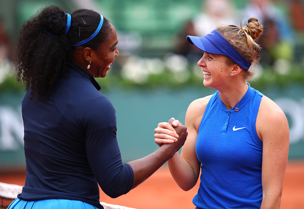 Serena Williams of the United States shakes hands with Elina Svitolina of Ukraine following her victory during the Ladies Singles fourth round match on day eleven of the 2016 French Open. (Photo by Clive Brunskill/Getty Images)