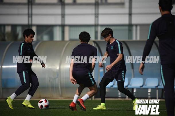 Los jugadores del Barça B preparan el duelo del sábado. FOTO: Noelia Déniz