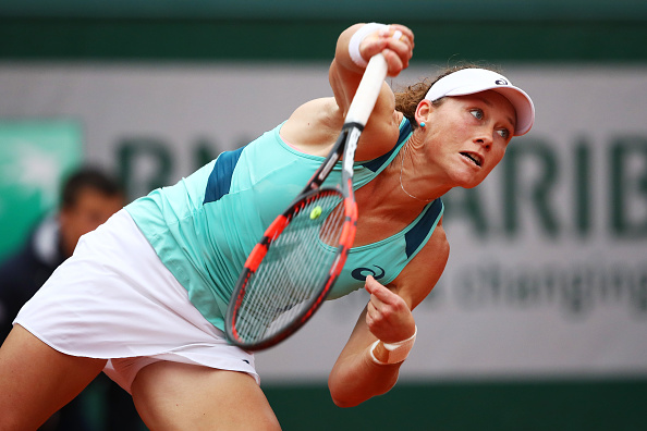 Samantha Stosur hits a serve at the French Open in Paris/Getty Images