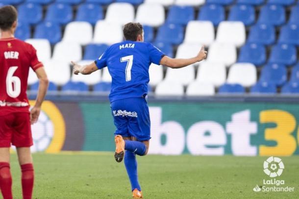J. Mata celebra el gol de la victoria. Vía: LaLiga