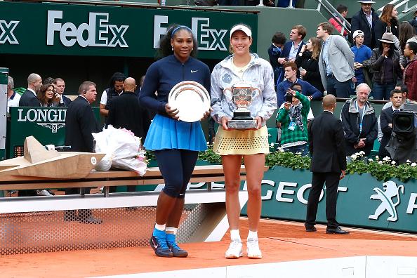 Serena Williams and Garbine Muguruza pose after Muguruza won Roland Garros. (Photo by Rindoff Petroff/Hekimian/Getty Images)