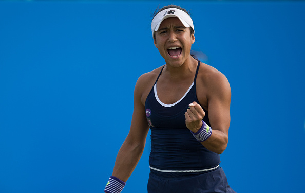 Heather Watson in action during her match against Magdalena Rybarikova at the WTA Aegon Open. (Photo by Jon Buckle/Getty Images for LTA)