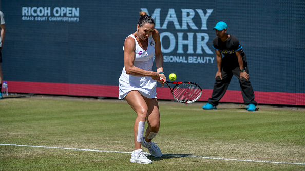 Jelena Jankovic hits a backhand at the 2016 Ricoh Open/Getty Images
