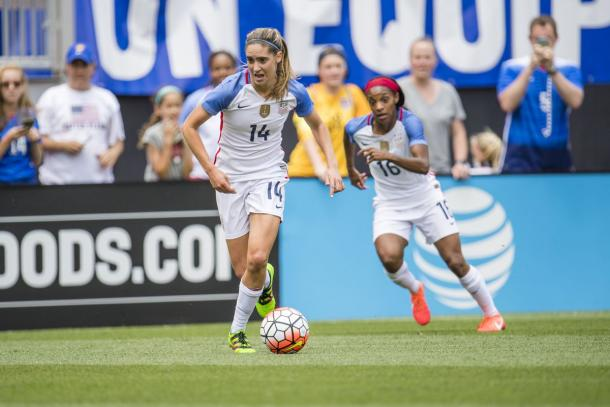 Morgan Brian in action for the USWNT | Source: Hot Time in Old Town