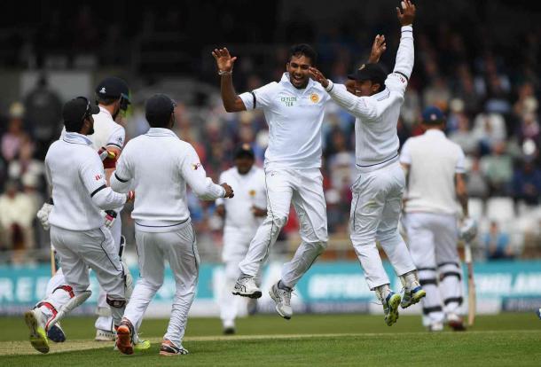 Dasun Shanaka celebrates after dismissing Nick Compton (Photo: Stu Forster/Getty Images)