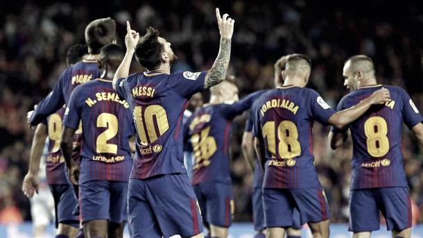 Messi celebrando un gol.   Fuente: FC Barcelona