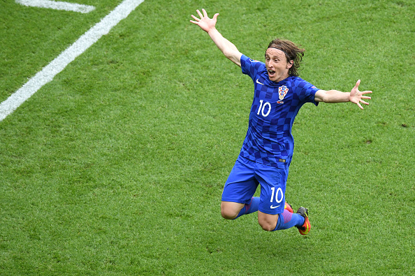 Modric celebrates his stunning effort against Turkey. | Image credit: Matthias Hingst - Getty Images Sport