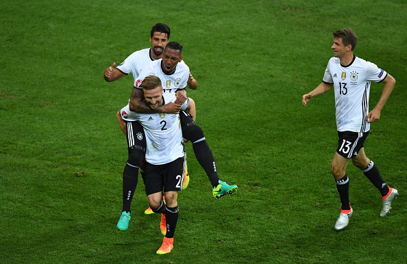 ACTION SHOT: Mustafi celebrates with his Germany teammates after opening the scoring. (Photo by Shaun Botterill/Getty Images)