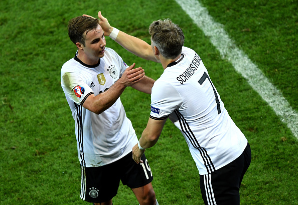 Schweinsteiger replaces Götze. Moments later, he was celebrating his 24th goal for his country. (Photo: Shaun Botterill/Getty Images)