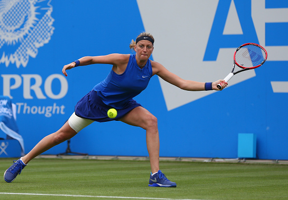 Kvitova reaches out for a forehand at the Aegon Classic Birmingham last week. Photo credit: Steve Bardens/Getty Images.