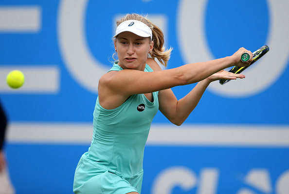 Gavrilova reaches for a backhand in her second round match at the Aegon Classic Birmingham. Photo credit: Steve Bardens/Getty Images.