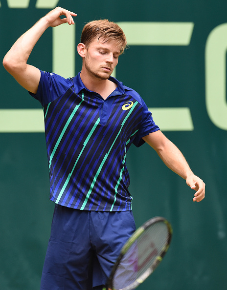 Goffin(pictured) frustrated as he fails to close out the set allowing Federer to get back in it | Photo: Carmen Jaspersen/Getty Images