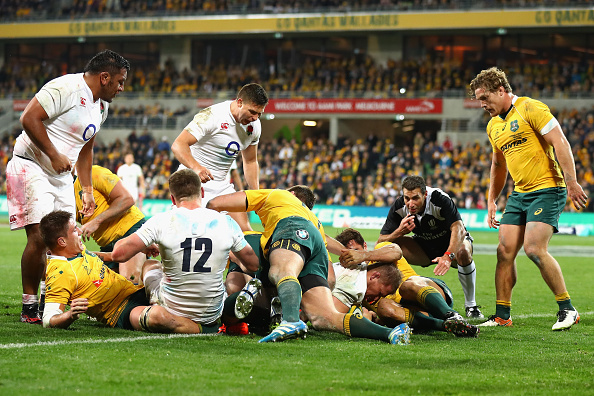 Dylan Hartley powers over to opening the scoring for England (photo:getty)