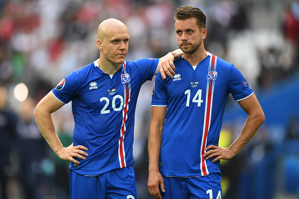 Emil Hallfredsson and Kari Arnason of Iceland look dejected after conceding a late goal during the UEFA EURO 2016 Group F match between Iceland and Hungary at Stade Velodrome on June 18, 2016 in Marseille, France. (Photo by Laurence Griffiths/Getty Images)