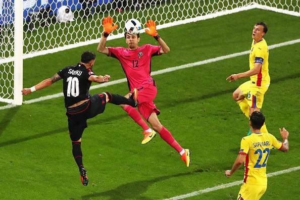 Sadiku heads Albania into the lead | Photo: AFP