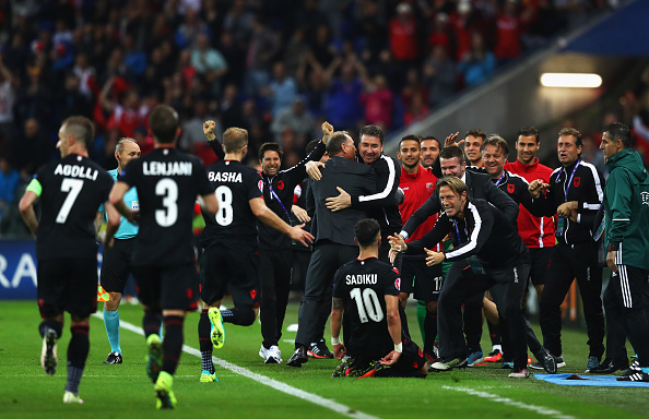 A huge goal for Albania. Just look how much it means to them. (Photo: Michael Steele/Getty)
