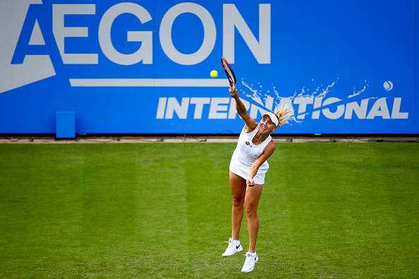 Elena Vesnina serves during her first round match against Heather Watson at the Aegon International. (Photo by Jordan Mansfield/Getty Images for LTA)