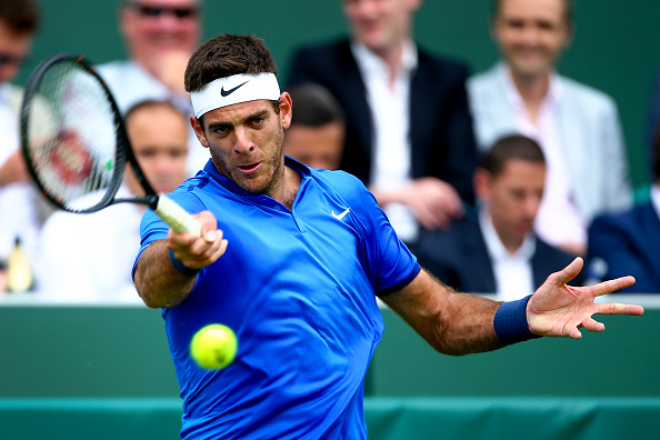 Juan Martin del Potro hits a forehand at The Boodles in Stoke Park in London/Getty Images