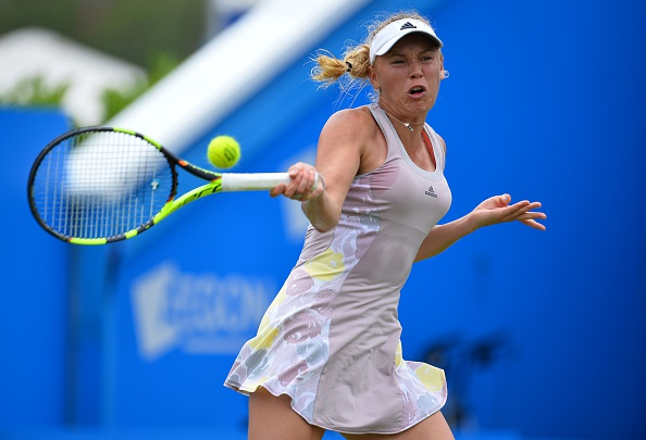 Caroline Wozniacki hits a forehand at the Aegon International in Eastbourne/Getty Images