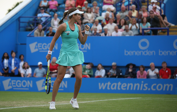 johanna Konta celebrates her victory during her third round match against Petra Kvitova. (Photo by Steve Bardens/Getty Images for LTA)