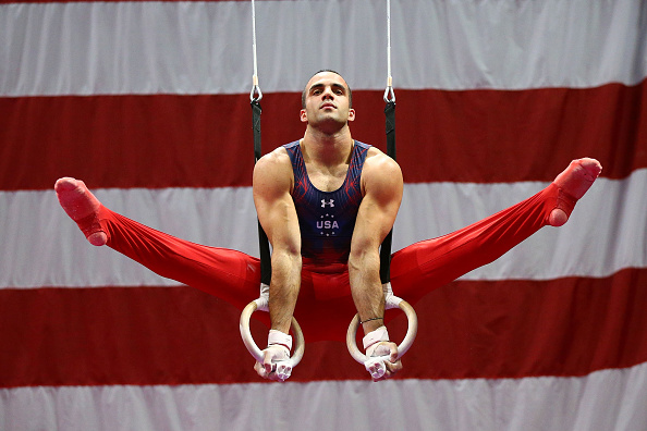Danell Leyva performs on the still rings at the U.S. Men's Gymnastics Olympic Trials in St. Louis/Getty Images