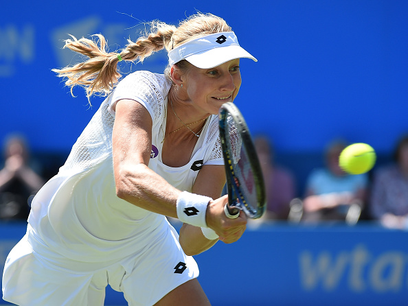 Ekaterina Makarova plays a forehand during her match against Johanna Konta of the WTA Aegon International. (Photo by Tom Dulat/Getty Images)