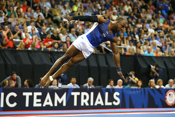 Donnell Whittenburg performs on floor exercise at the U.S. Men's Gymnastics Olympic Trials in St. Louis/Getty Images
