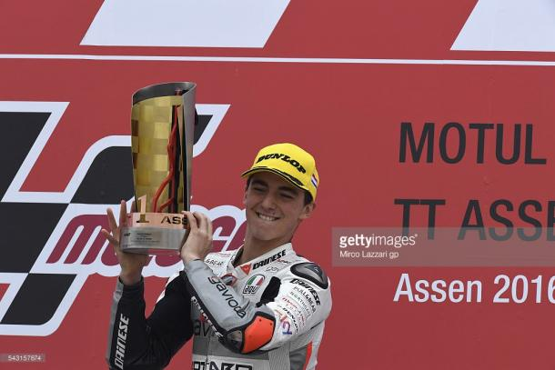 Bagnaia celebrates his and Mahindra's first ever win at Assen GP - Getty Images