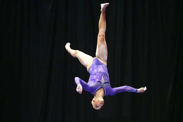 Alyssa Baumann performs on the balance beam at the P&G Women's Gymnastics Championships in St. Louis/Getty Images