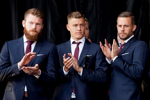Gylfi Sigurdsson (right) and his fellow Iceland teammates were given a hero's reception when they returned home following their Euro 2016 exploits. (Photo: KARL PETERSSON/AFP/Getty Images)