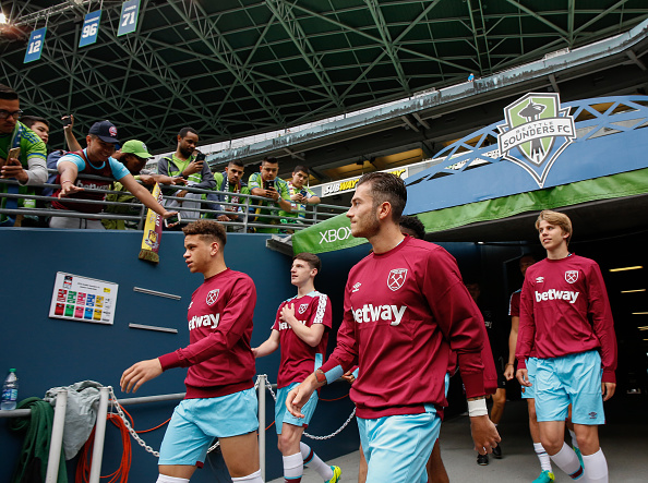 Above: West Ham United youngsters walking out ahead of the game with the Seattle Sounders | Getty Images