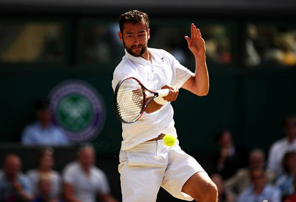 Marin Cilic in action during his defeat to Roger Federer at Wimbledon last year (Getty/Clive Brunskill)