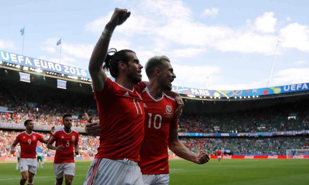 Wales celebrate their goal against Northern Ireland (Photo: Stephane Mahe/Reuters)