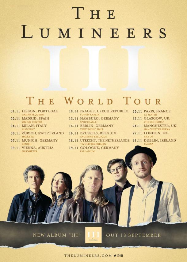 Cartel gira europea | Facebook The Lumineers