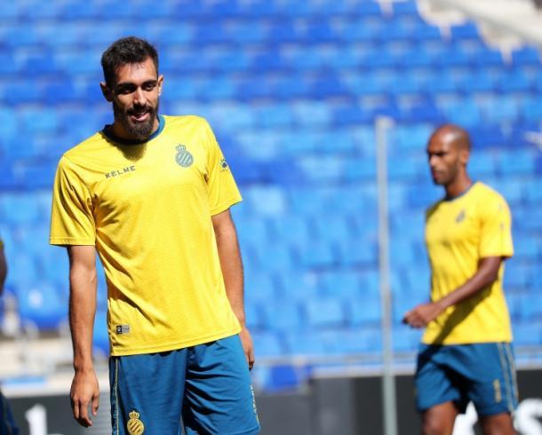 Borja Iglesias en el último entrenamiento. Fuente: Página web oficial del RCD Espanyol.