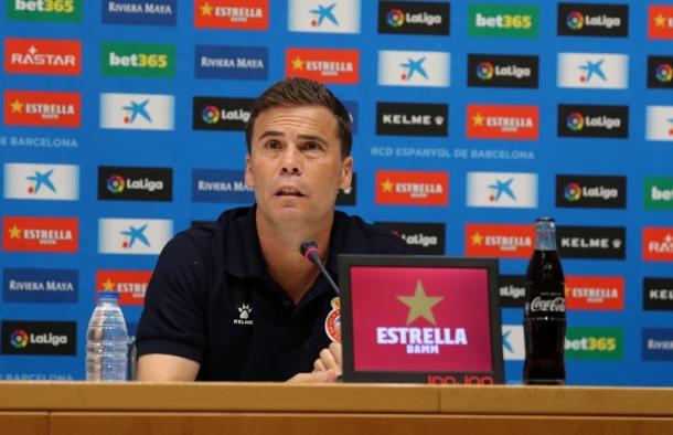 Rubi en sala de prensa. Fuente: Web oficial RCD Espanyol.