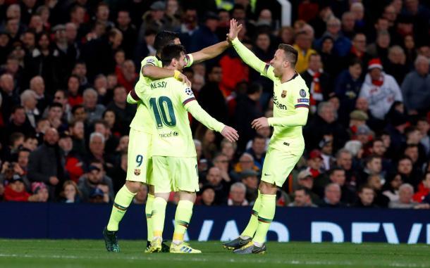 Los jugadores azulgranas celebrando el 0-1 / Foto: FC Barcelona
