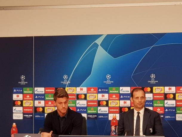 Allegri y Rugani en rueda de prensa / foto: Juventus twitter oficial.