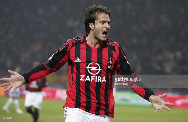 Gilardino celebra un tanto con el Milan. / Foto: gettyimages