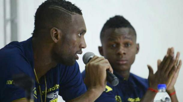 Dominguez during press conference in Colombia. Source: AFP