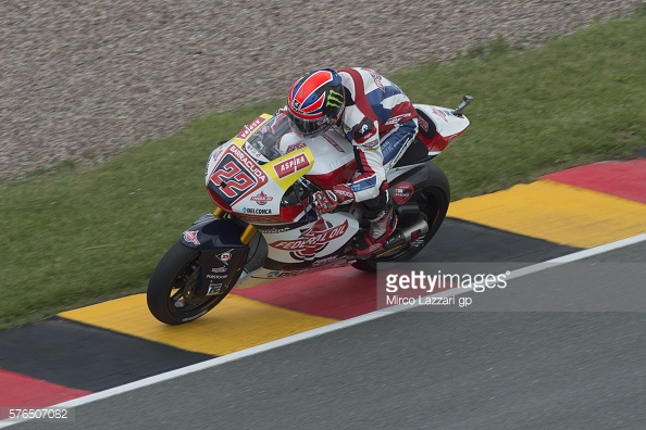 Lowes using the distinctive red, yellow and black rumble strips at Saschenring - Getty images
