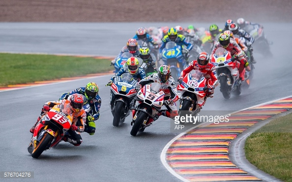 The race got underway in the wet - Getty Images