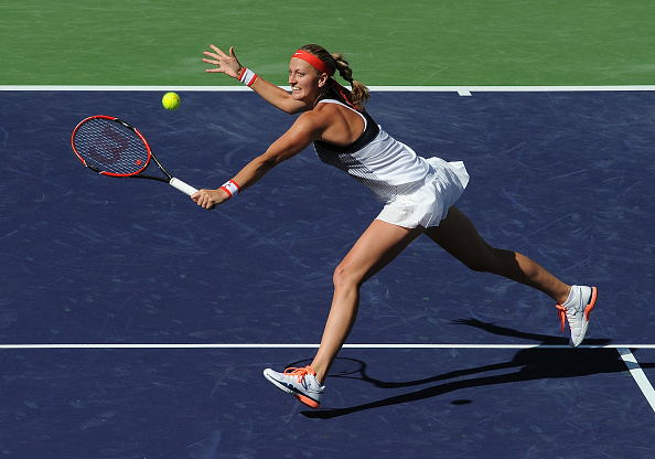 Kvitova reached her first quarterfinal of the year in Indian Wells, winning consecutive matches for the first time in six months. Photo credit: Icon Sports Wire/Getty Images.