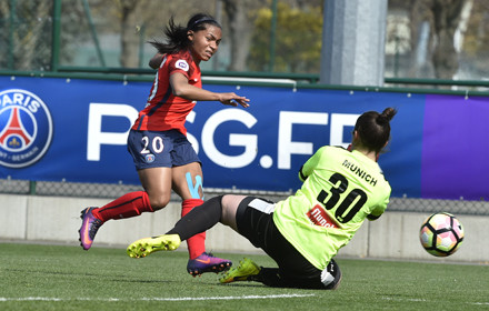 Perle Moroni tucks the ball underneath the goalkeeper for PSG's first | Source: psg.fr
