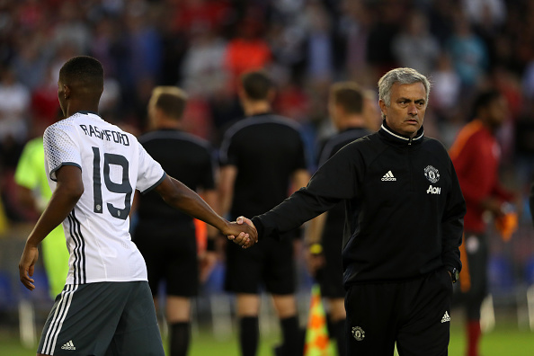 Above: Marcus Rashford with manager Jose Mourinho after Manchester United's 5-2 friendly win over Galatasaray | Photo: Getty Images