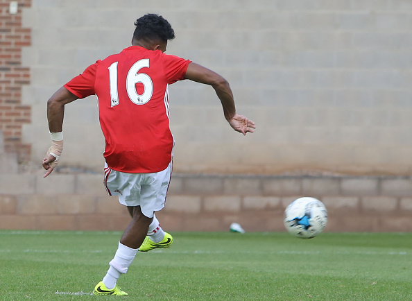 Demetri Mitchell in action for Manchester United U21's after scoring their winner against Leicester City | Photo; Getty Images