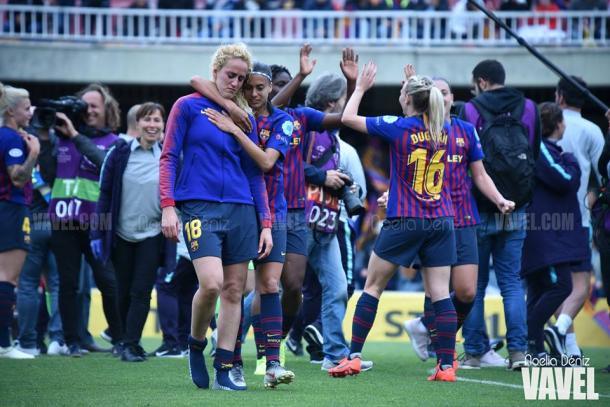 Las jugadoras del FC Barcelona al acabar el partido. FOTO: Noelia Déniz