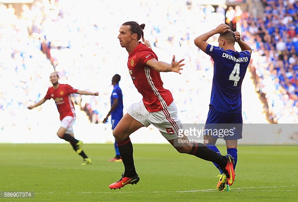 Ibrahimovic celebrates scoring the winner against the Foxes in the Community Shield back in August | Photo: